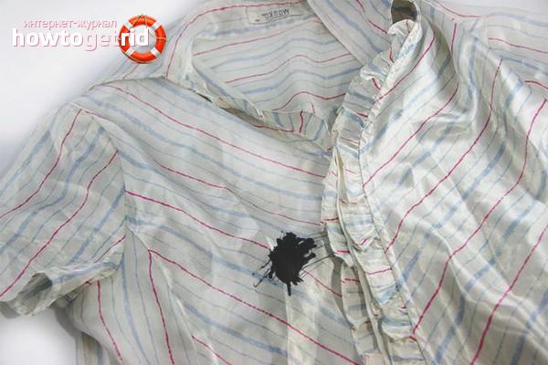 Как убрать шариковые чернила с белой ткани