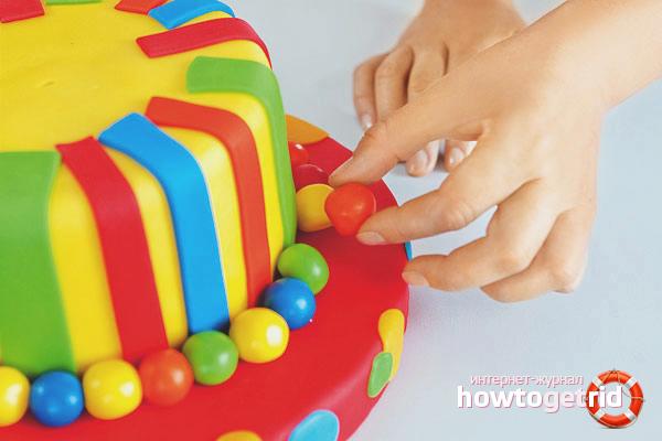 Разноцветная мастика для торта