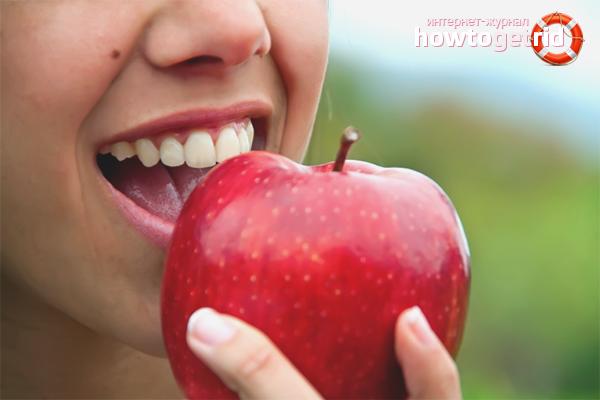 Яблоко от налета на зубах