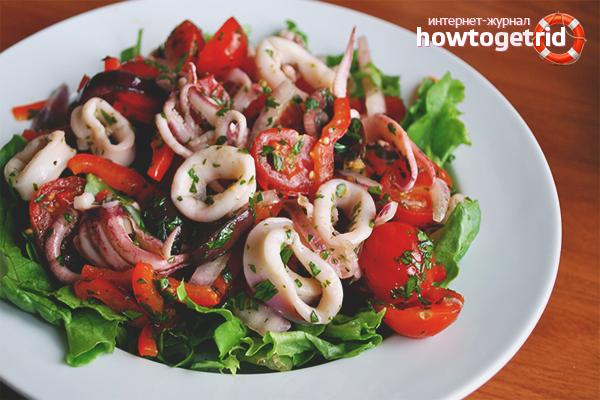Овощной салат из морепродуктов