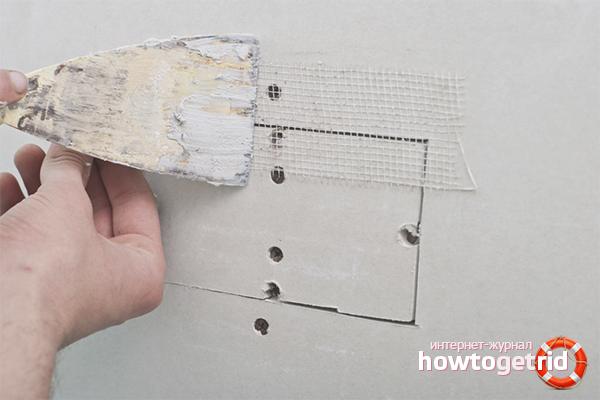 Как заделать дырку в стене из гипсокартона
