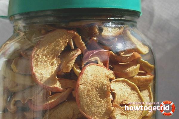 В чем хранить сушеные яблоки