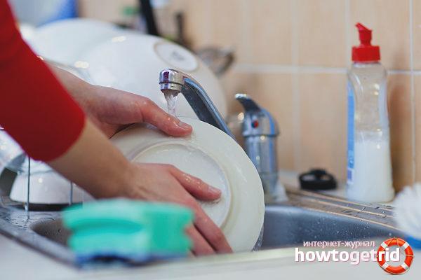 Экономный расход воды при мытье посуды
