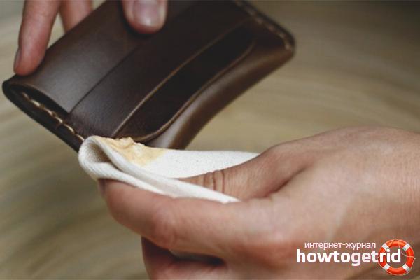 Как очистить кожаный кошелек от пятен