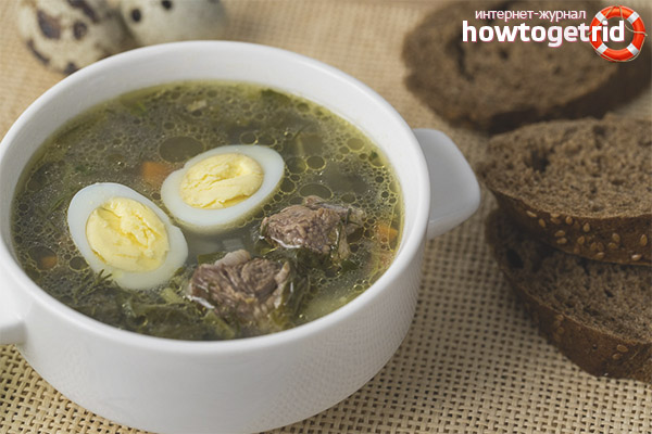 Зелёный суп с курицей