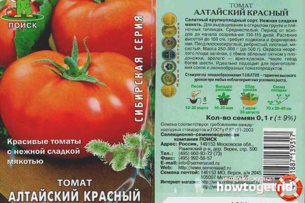 Особенности посадки томата алтайский красный