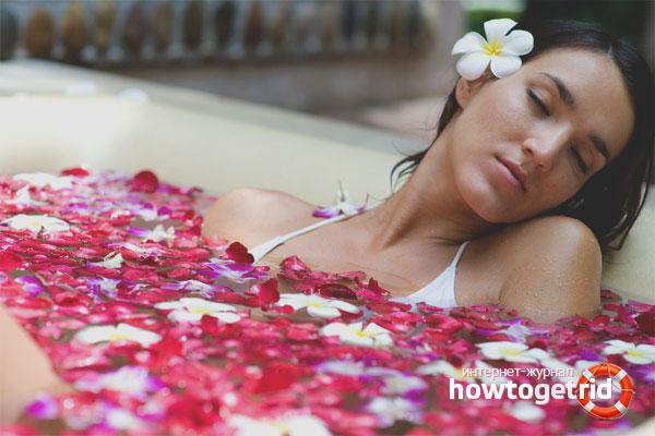 Теплая ароматическая ванна для снятия боли в шее