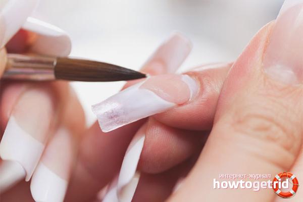 Акриловое наращивание ногтей на типсы