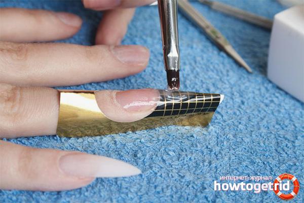 Гелевое наращивание ногтей на формы