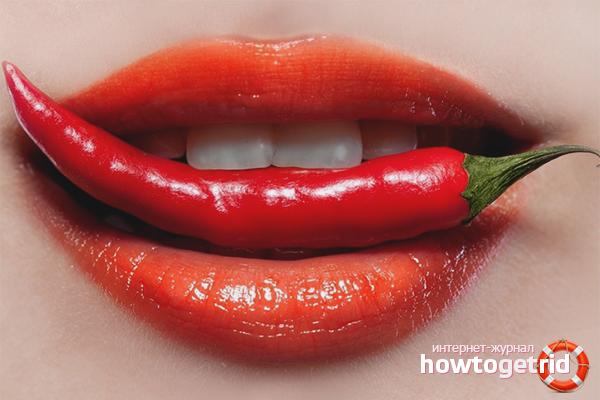 Маска для увеличения губ с перцем