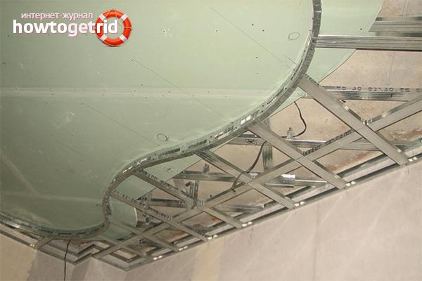 Монтаж каркаса потолка под гипсокартон