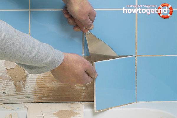 Как снять старую плитку со стен ванной