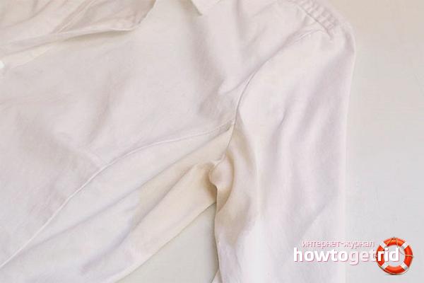 Как вывести желтые пятна от пота с белой одежды