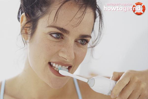 Техника использования электрической зубной щётки