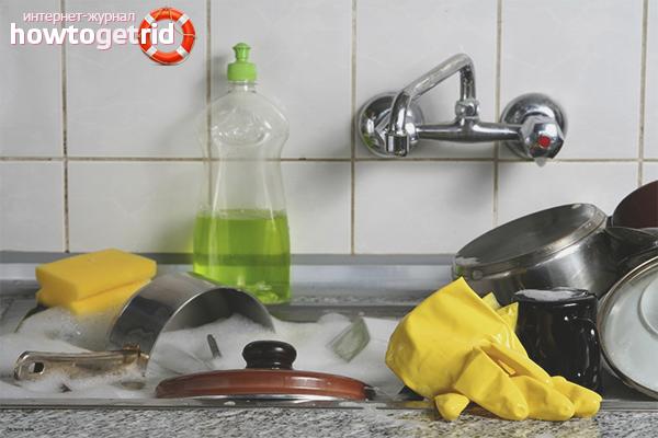 Как отмыть посуду от старого жира