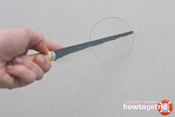 Как вырезать круг в гипсокартоне
