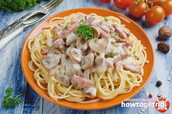 Спагетти со сливками и грибами