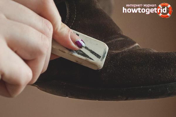 Как почистить замшевую обувь ластиком