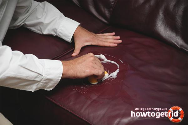 Как удалить пятна на кожаном диване