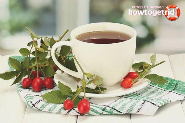 Чай из сушёного шиповника для очищения кишечника