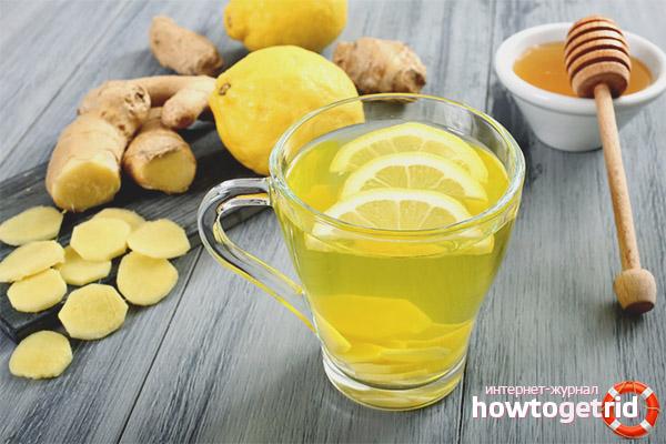Напиток из имбиря, лимона и меда
