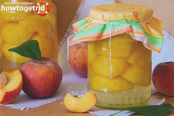 Рецепты компотов из персиков на зиму
